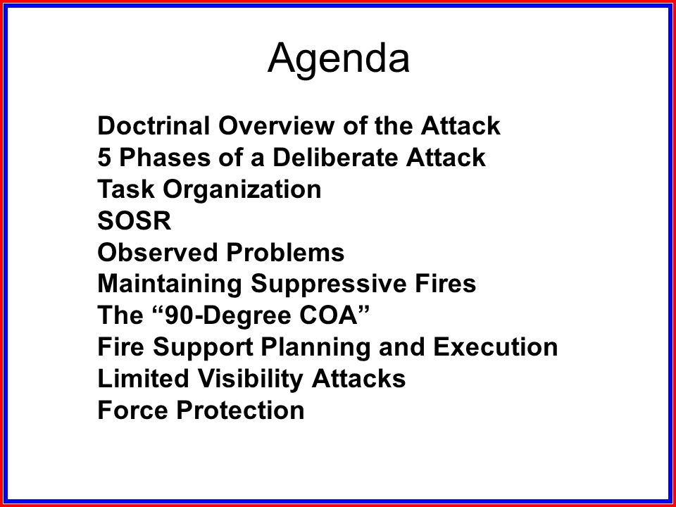 Agenda Doctrinal Overview of the Attack