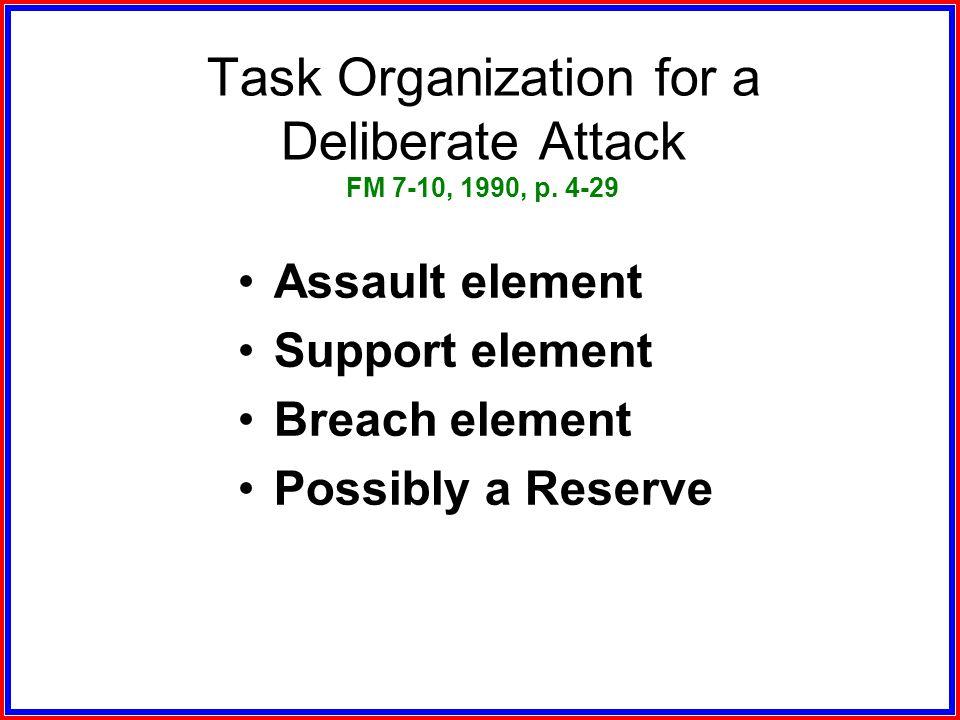 Task Organization for a Deliberate Attack