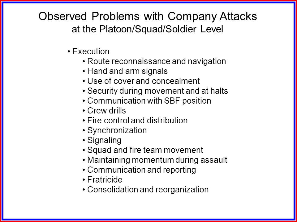 Observed Problems with Company Attacks