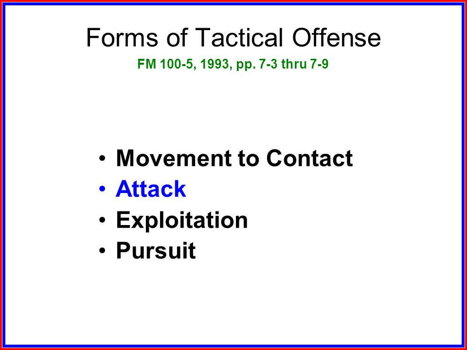 Forms of Tactical Offense