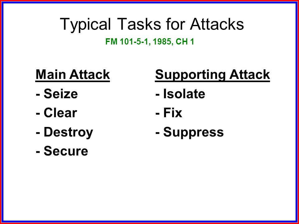 Typical Tasks for Attacks