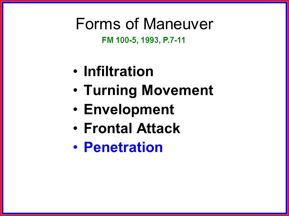 Forms of Maneuver Infiltration Turning Movement Envelopment