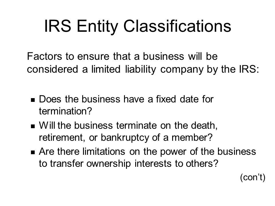 IRS Entity Classifications