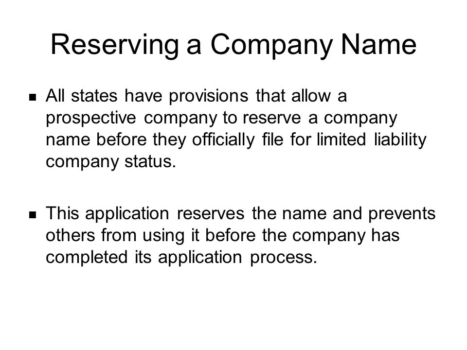 Reserving a Company Name