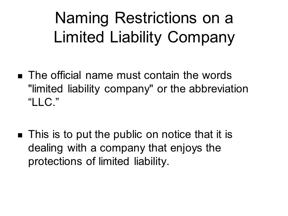 Naming Restrictions on a Limited Liability Company