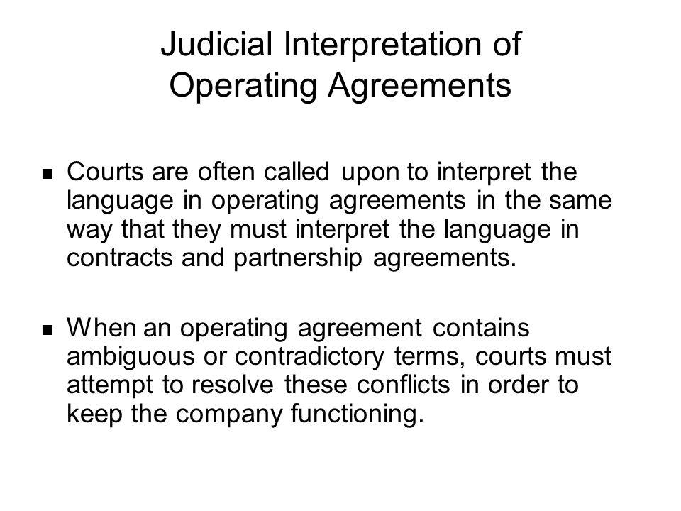 Judicial Interpretation of Operating Agreements