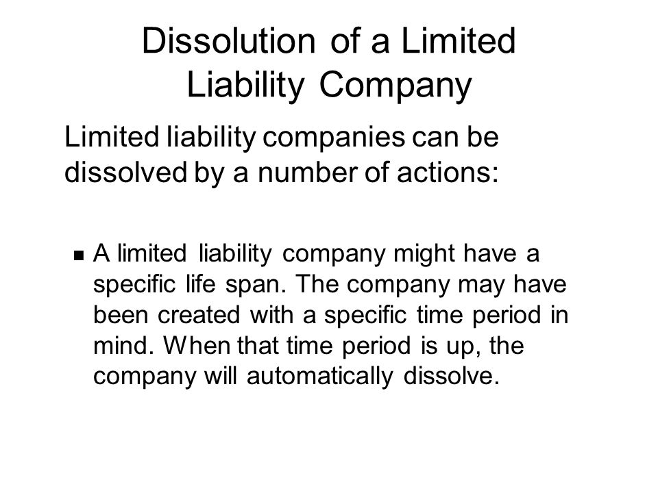 Dissolution of a Limited Liability Company