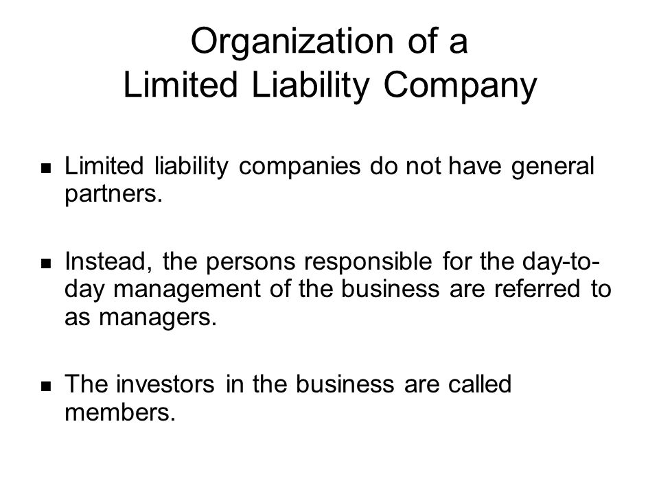Organization of a Limited Liability Company