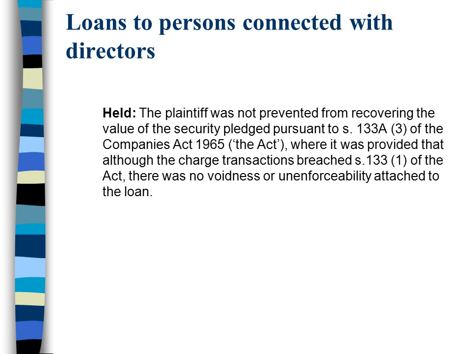 Loans to persons connected with directors