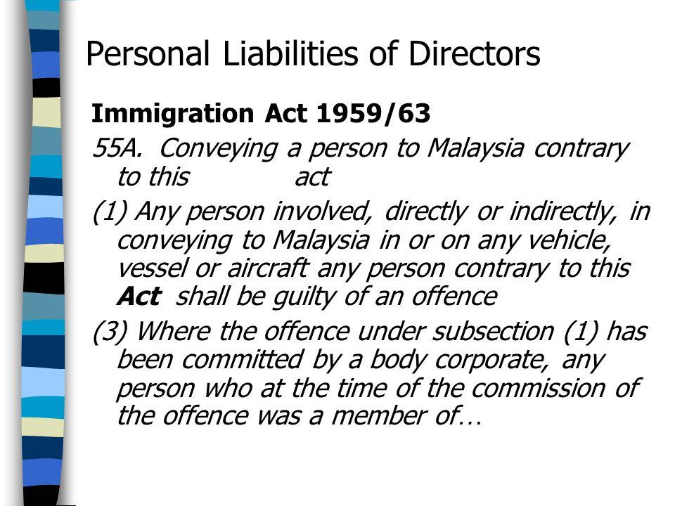 Personal Liabilities of Directors
