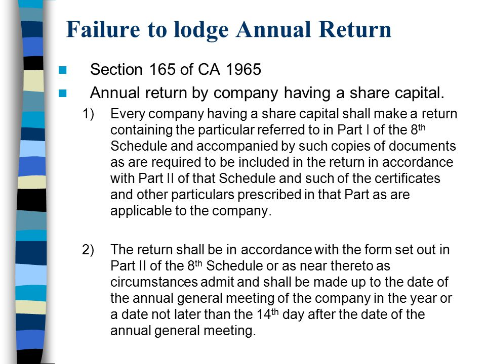 Failure to lodge Annual Return