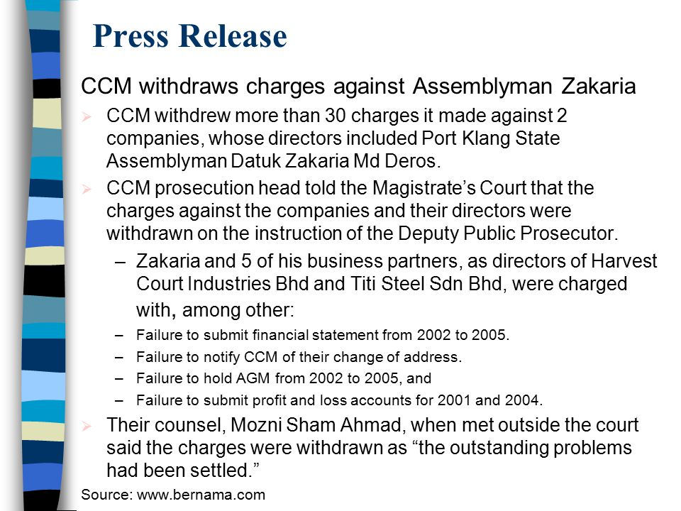 Press Release CCM withdraws charges against Assemblyman Zakaria