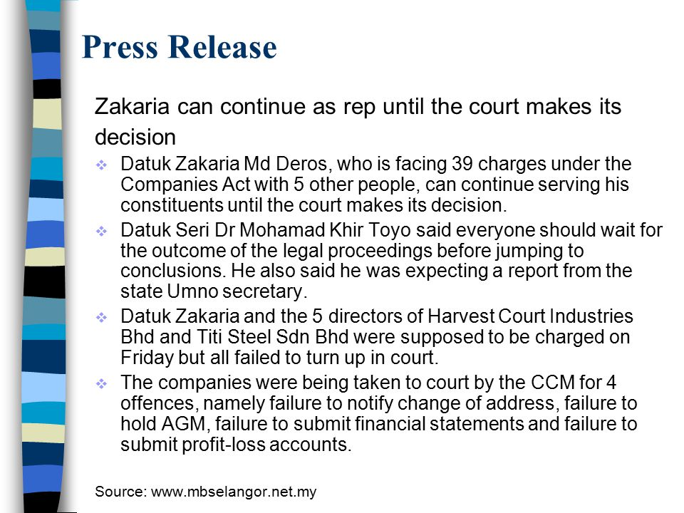 Press Release Zakaria can continue as rep until the court makes its