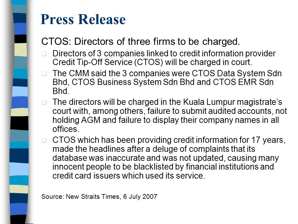 Press Release CTOS: Directors of three firms to be charged.