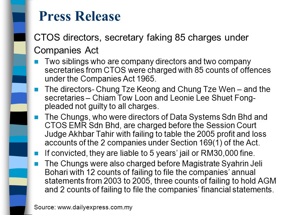 Press Release CTOS directors, secretary faking 85 charges under