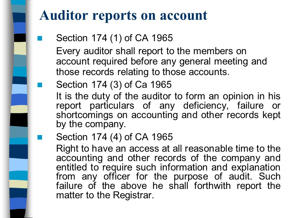 Auditor reports on account