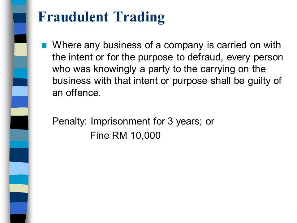 Fraudulent Trading