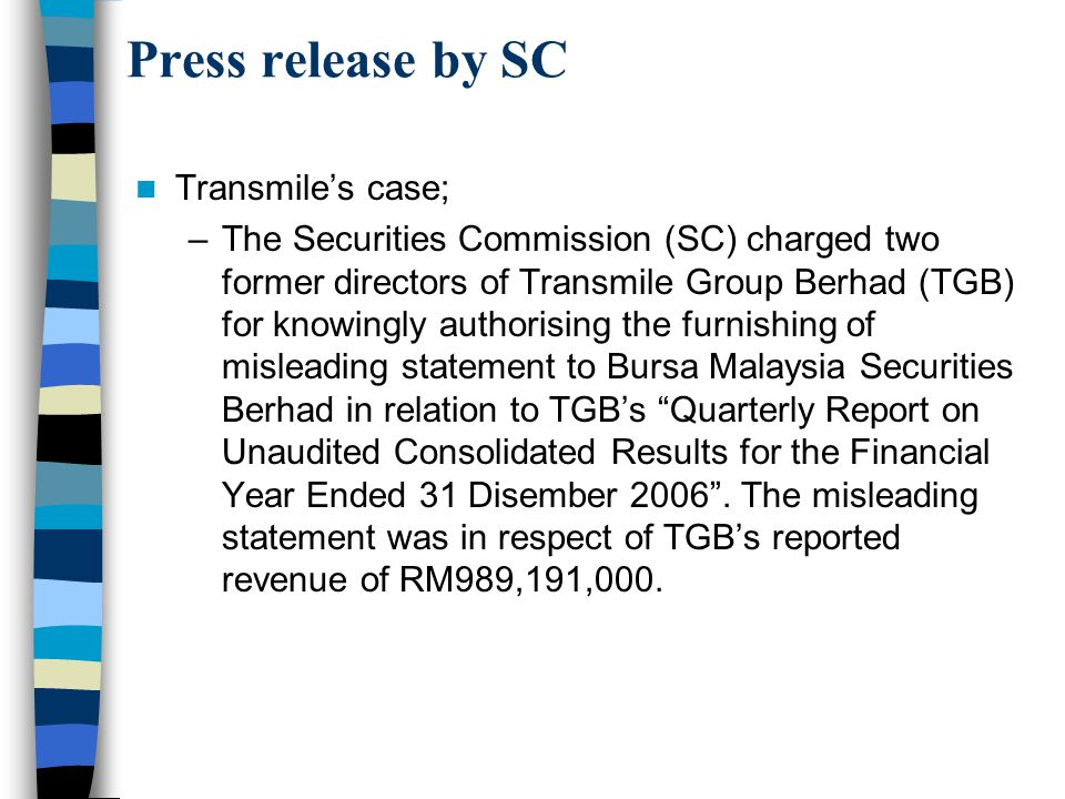 Press release by SC Transmile's case;