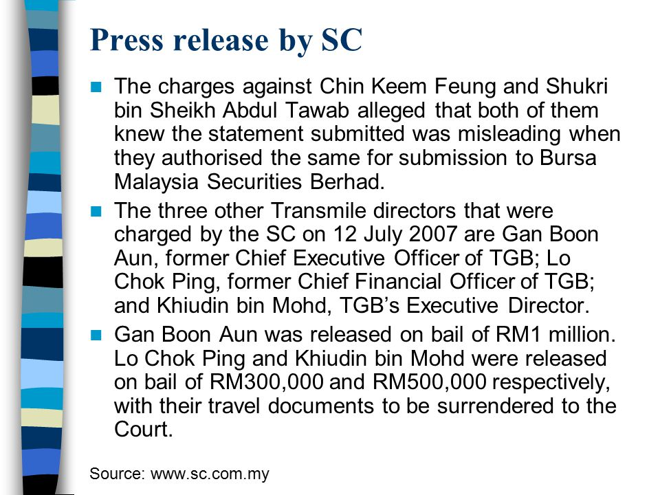 Press release by SC