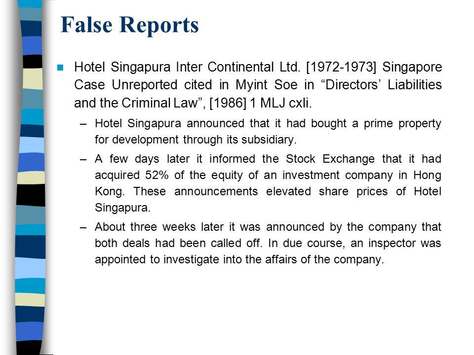 False Reports