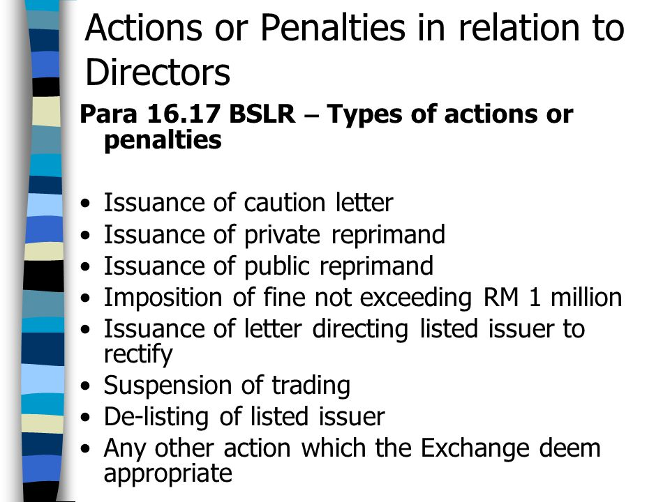 Actions or Penalties in relation to Directors