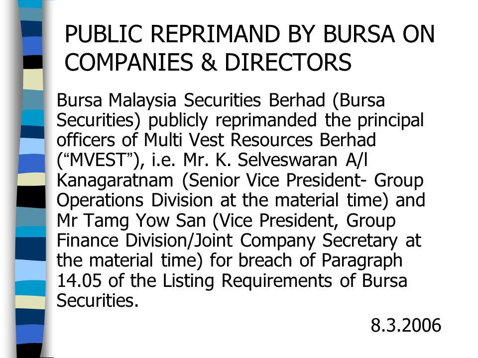 PUBLIC REPRIMAND BY BURSA ON COMPANIES & DIRECTORS