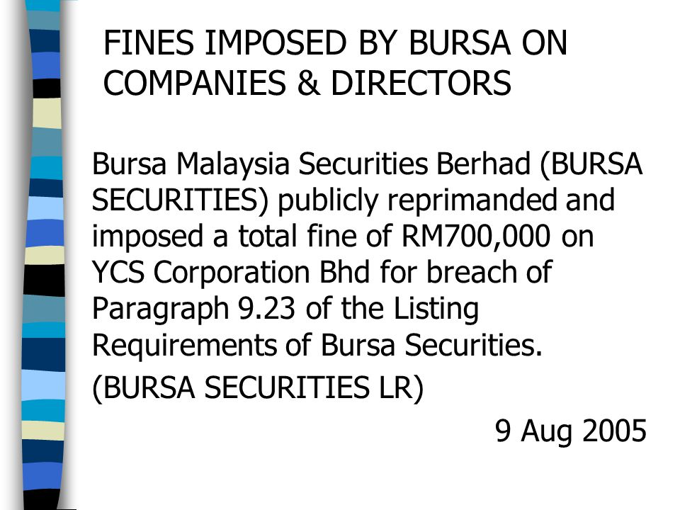 FINES IMPOSED BY BURSA ON COMPANIES & DIRECTORS