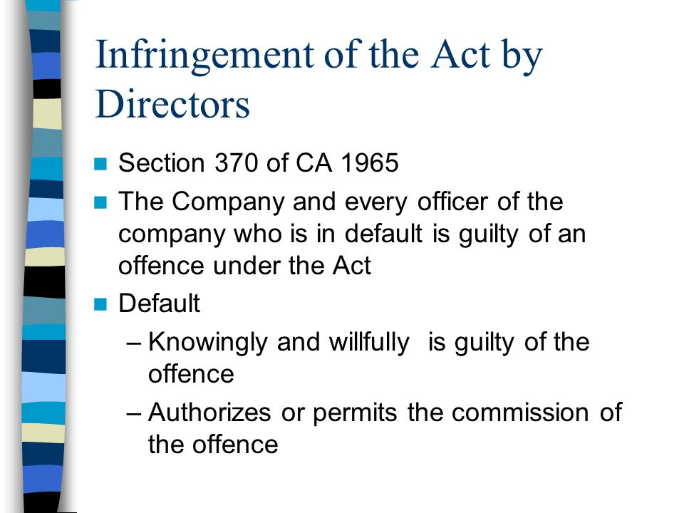 Infringement of the Act by Directors