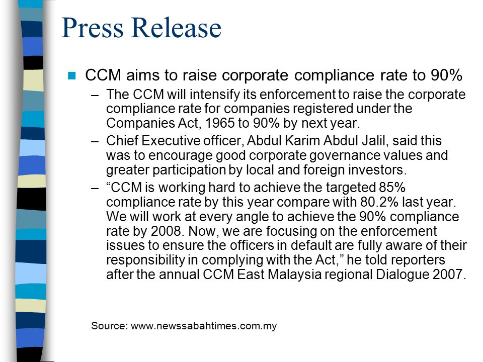 Press Release CCM aims to raise corporate compliance rate to 90%