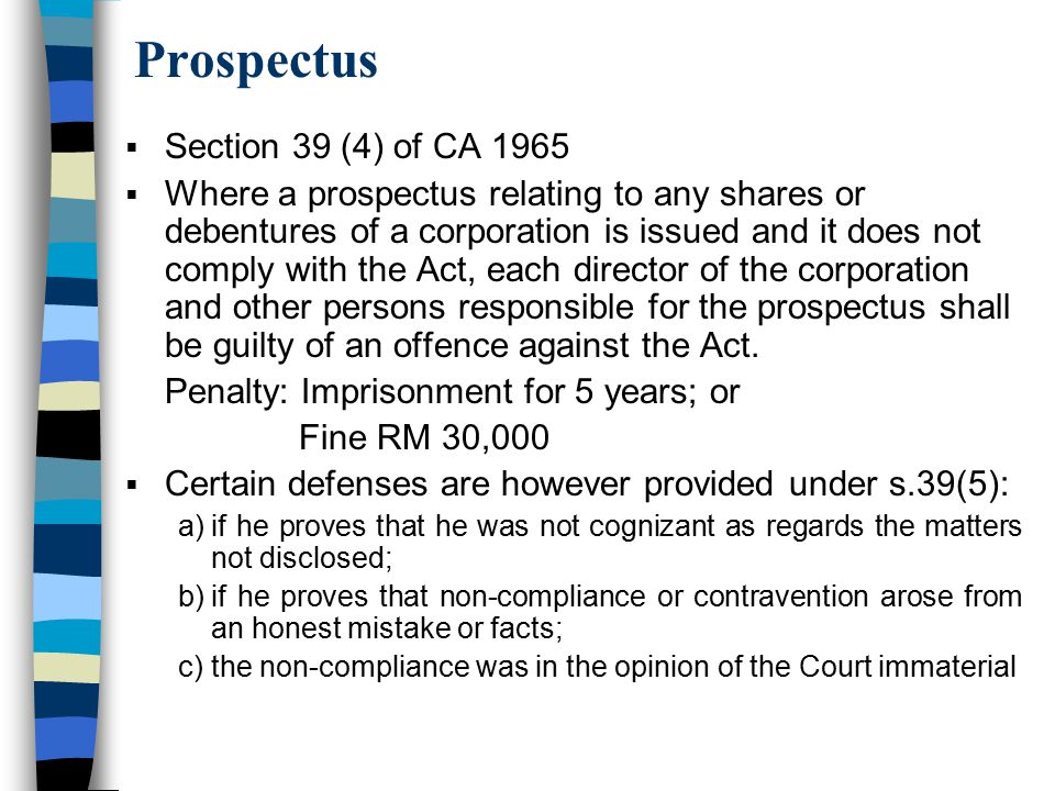Prospectus Section 39 (4) of CA 1965