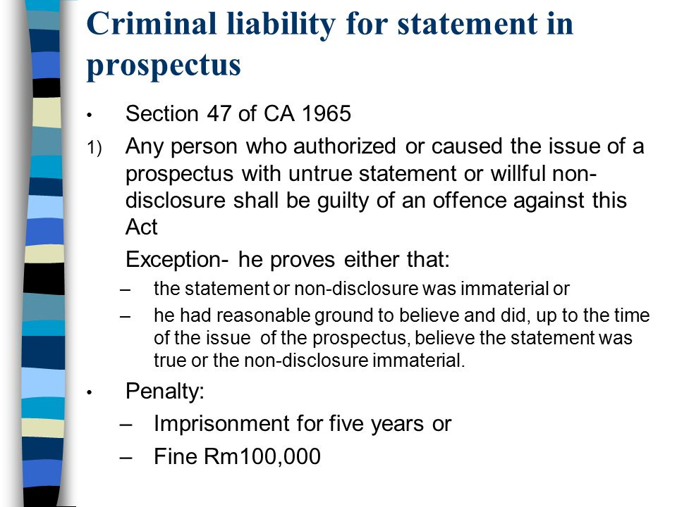Criminal liability for statement in prospectus