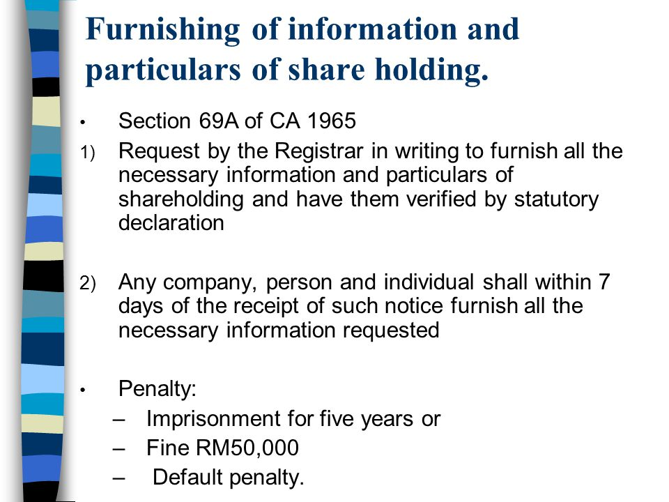 Furnishing of information and particulars of share holding.