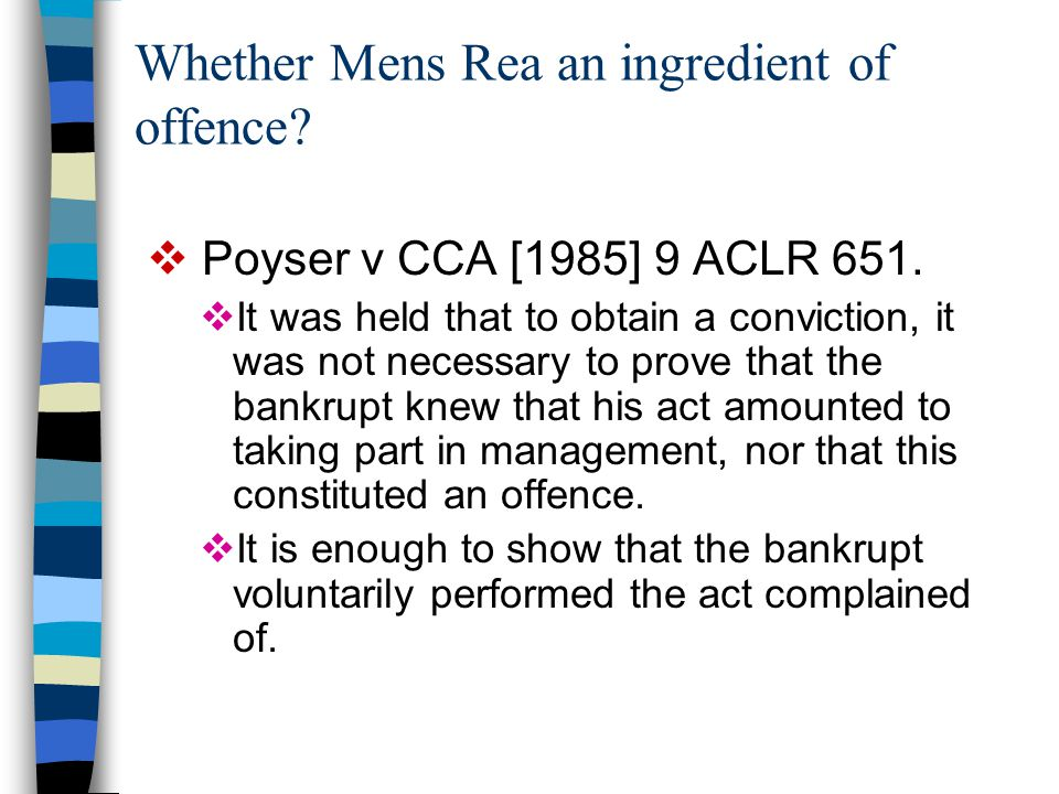 Whether Mens Rea an ingredient of offence