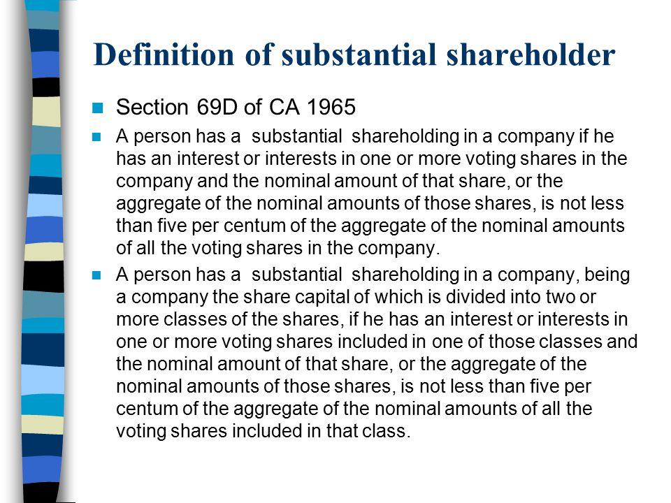 Definition of substantial shareholder