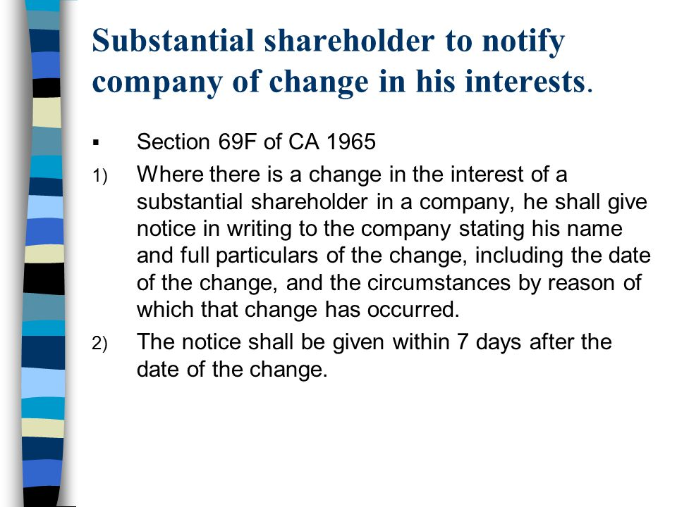 Substantial shareholder to notify company of change in his interests.