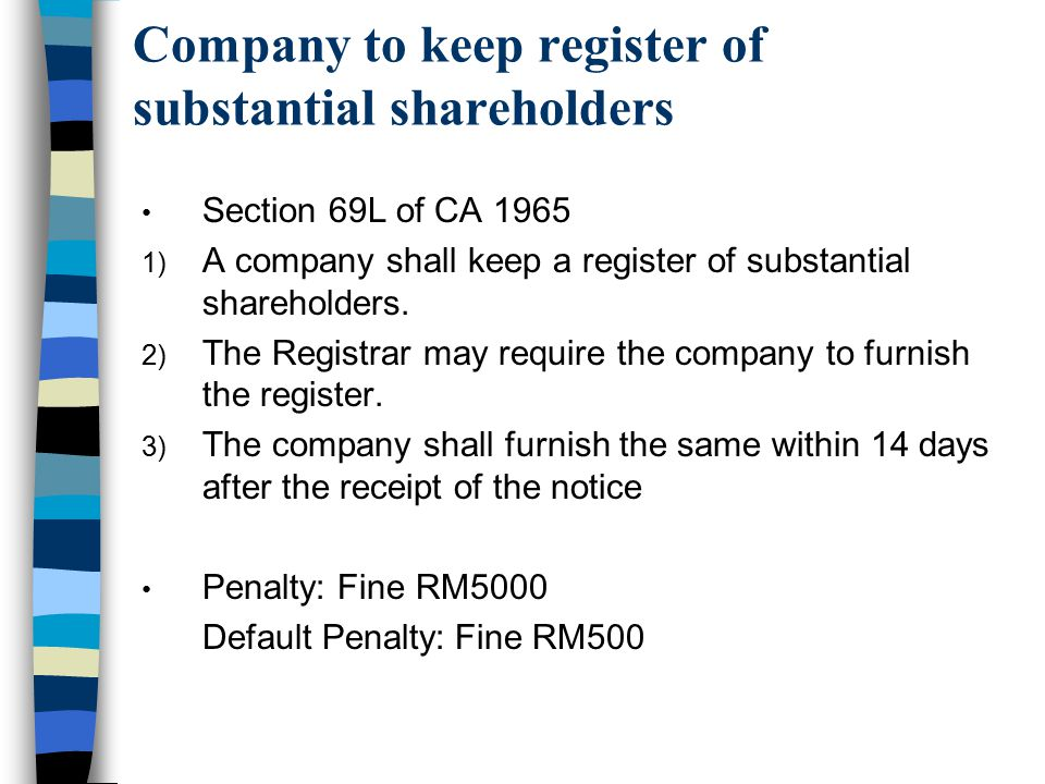 Company to keep register of substantial shareholders
