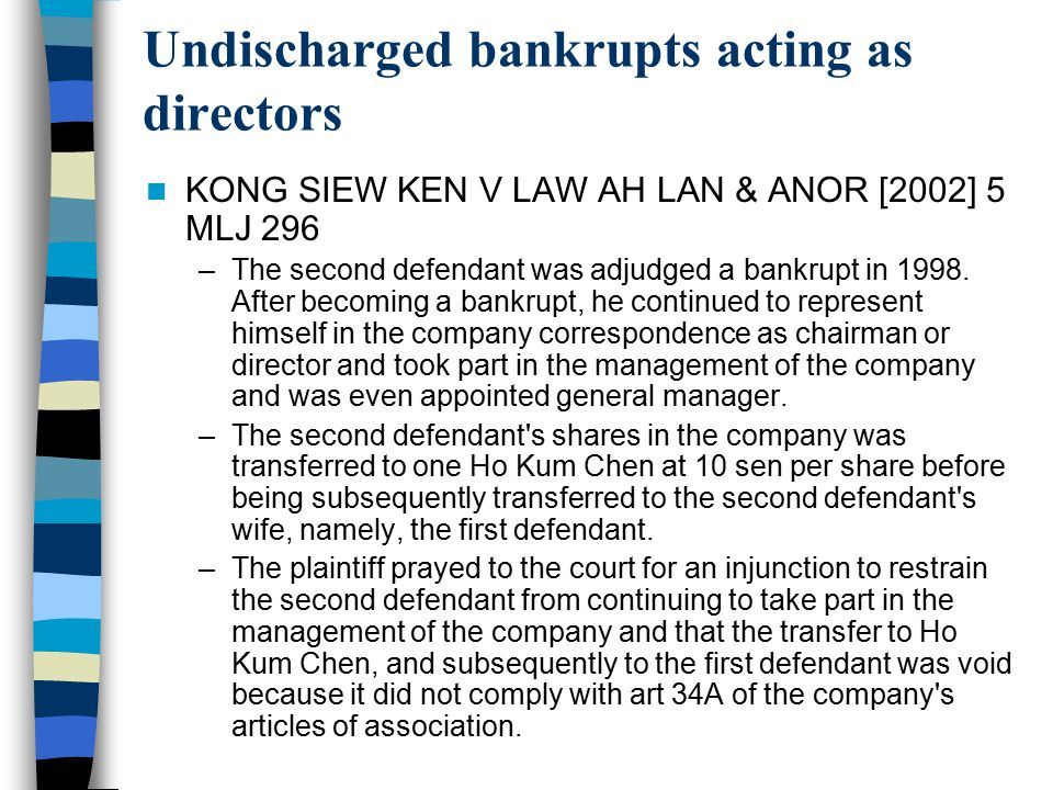 Undischarged bankrupts acting as directors