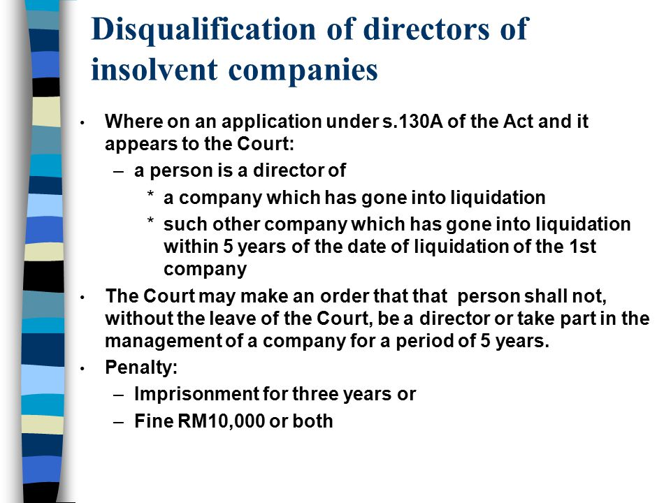 Disqualification of directors of insolvent companies