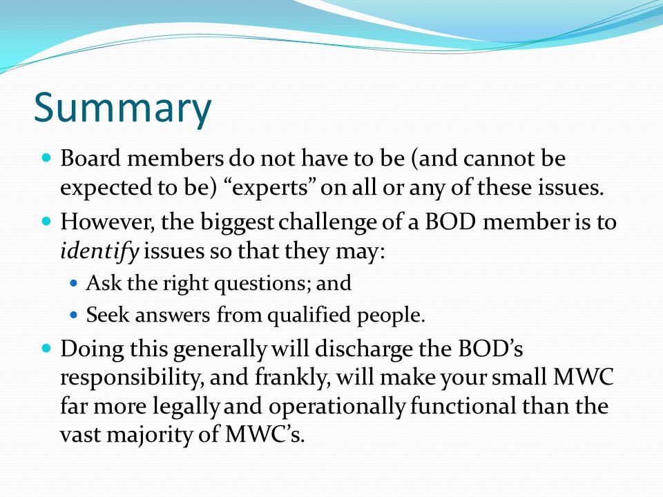 Summary Board members do not have to be (and cannot be expected to be) experts on all or any of these issues.