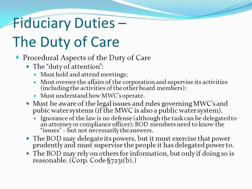 Fiduciary Duties – The Duty of Care
