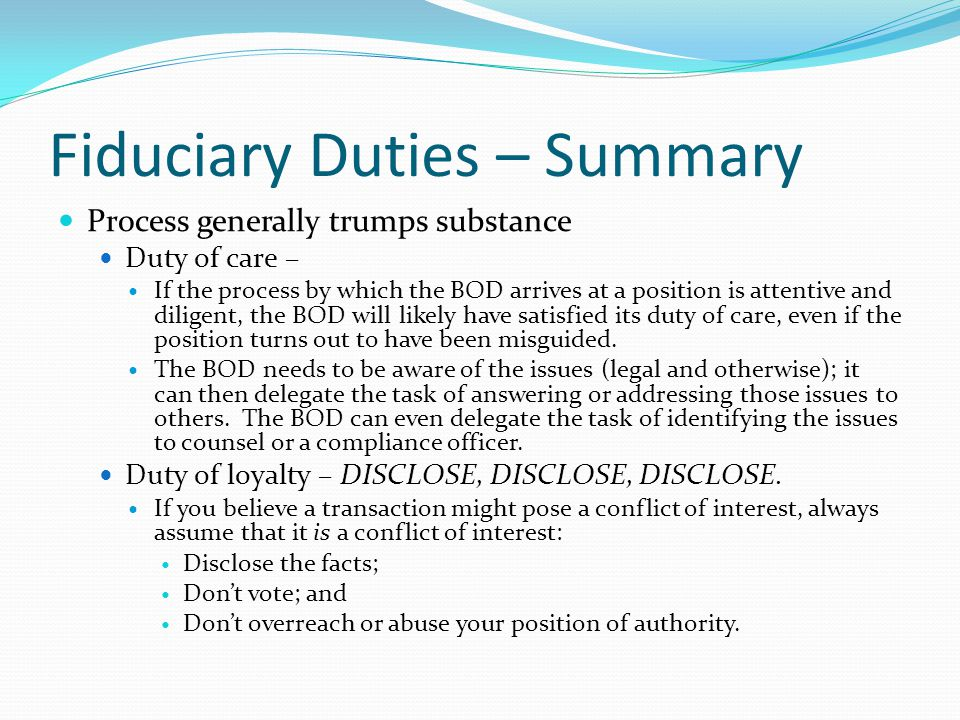 Fiduciary Duties – Summary