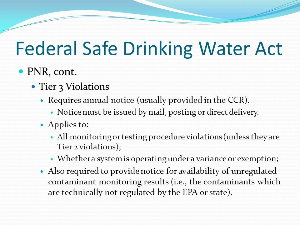 Federal Safe Drinking Water Act