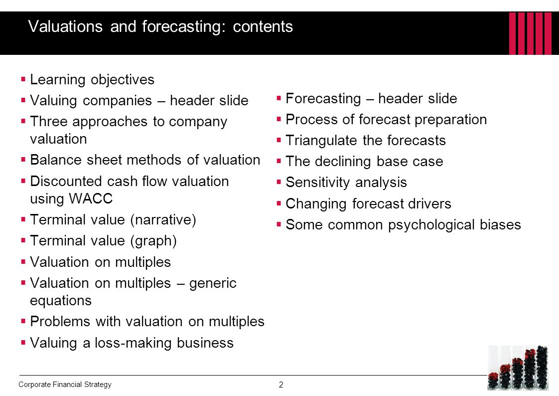 Valuations and forecasting: contents
