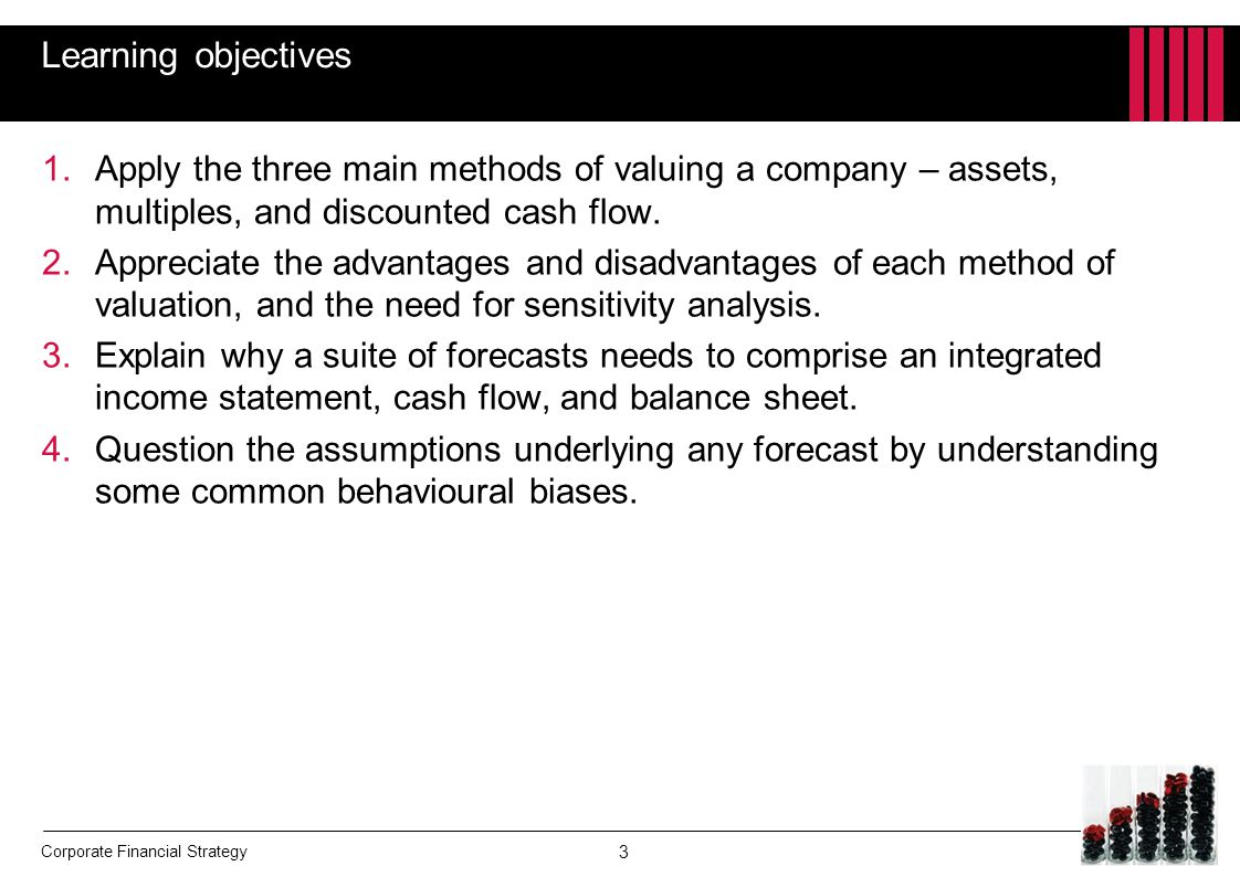 Learning objectives Apply the three main methods of valuing a company – assets, multiples, and discounted cash flow.