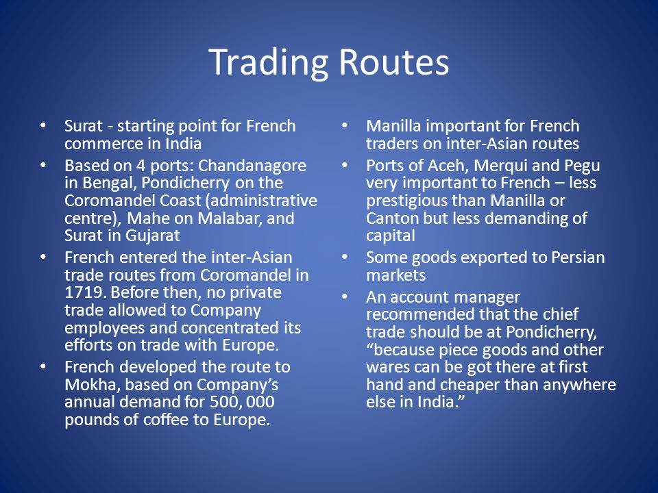 Trading Routes Surat - starting point for French commerce in India