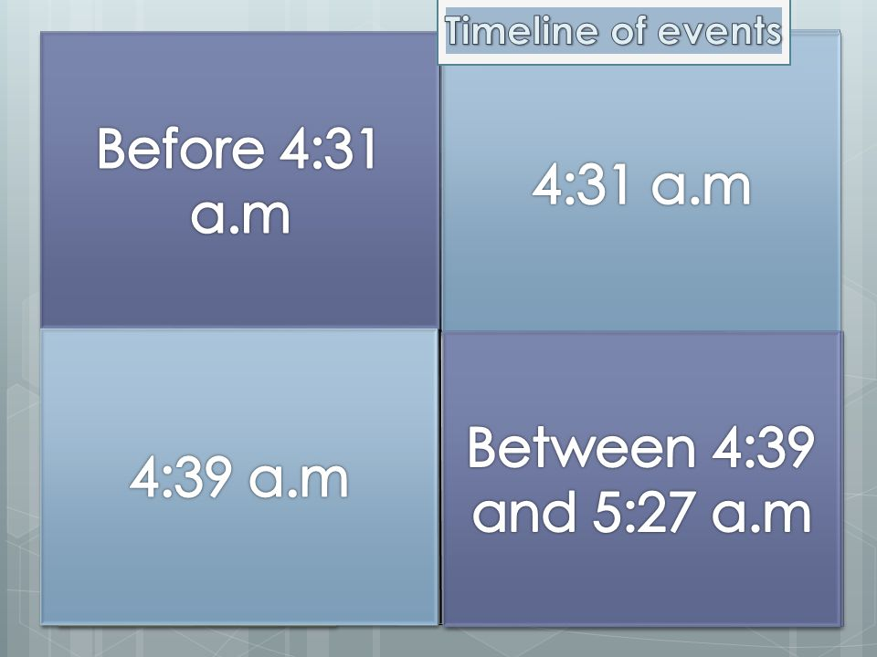 Before 4:31 a.m Before 4:31 a.m 4:31 a.m 4:31 a.m 4:39 a.m 4:39 a.m