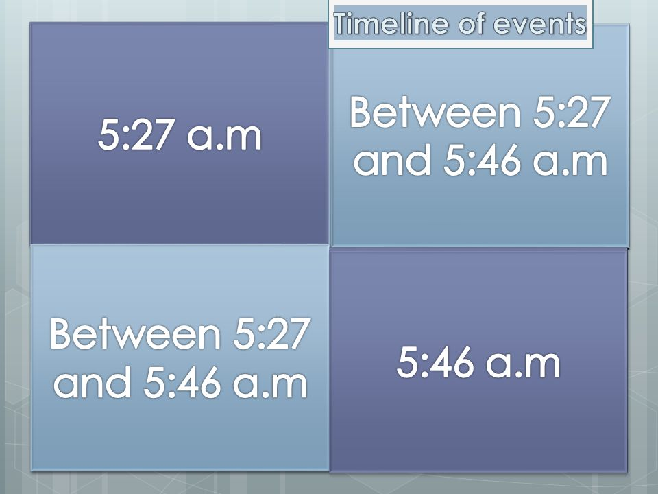 5:27 a.m 5:27 a.m Between 5:27 and 5:46 a.m Between 5:27 and 5:46 a.m