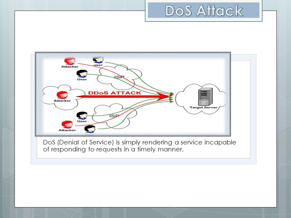 DoS Attack DoS (Denial of Service) is simply rendering a service incapable of responding to requests in a timely manner.