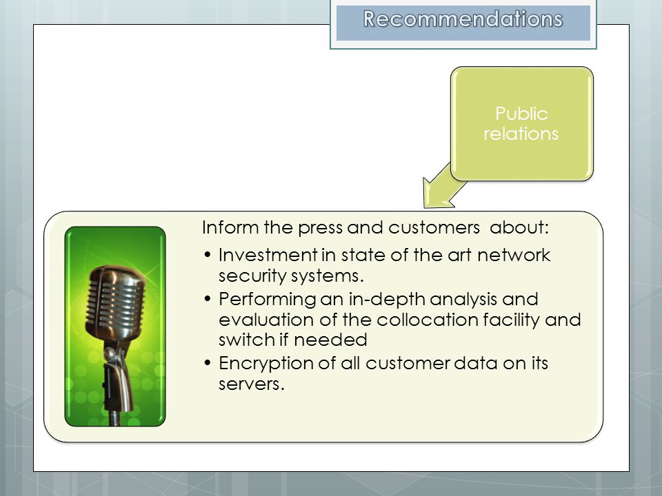 Recommendations Public relations Inform the press and customers about: