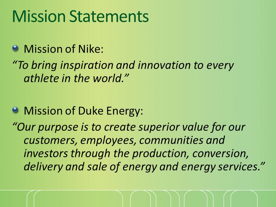 Mission Statements Mission of Nike: